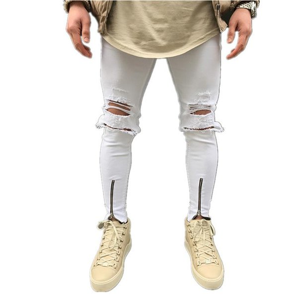 Mens Ripped Skinny Straight Slim Elastic Denim Fit Biker Jeans Pants Long White Pants Stylish Straight Slim Fit Jeans J180614