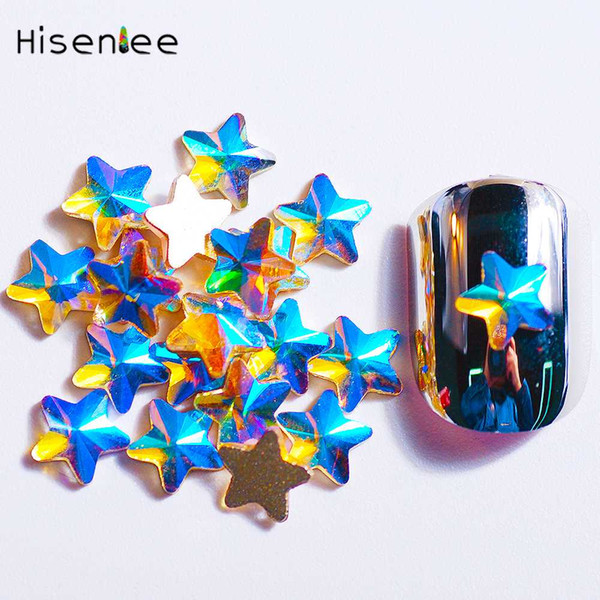 6MM Super Shiny K9 Five-Pointed Star Shape Design Strass High Quality Clear Paradise Shine AB Crystal Glass Nail Art Decoration
