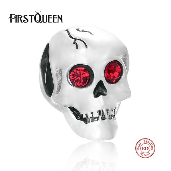 FirstQueen Halloween Gift Skull Charm Beads For Jewelry Making 925 Sterling -Silver-Jewelry Diy Women Bracelets & Bangles