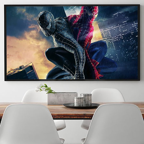 spiderman black and red Modern Abstract Canvas Oil Painting Print Wall Art Decor for Living Room Home Decoration Framed/Unframed