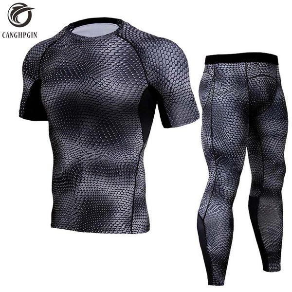Running Set Men Compression Shirt+Pants Skin Tights Short Sleeves TShirts Leggings Mens Jogging Suits Gym Fitness 2pcs/Sets