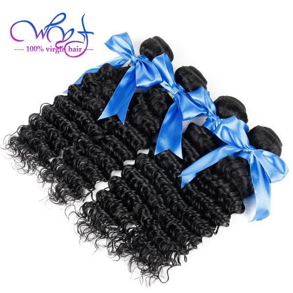WYF Peruvian Human Hair 4 Bundles With Frontal Closure Unprocessed Peruvian Virgin Human Hair Bundles Deep Wave Hair Weave Wholesale Price