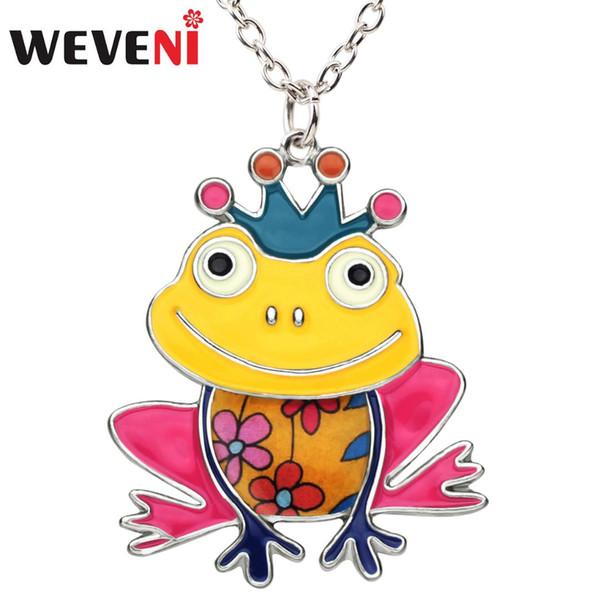 WEVENI Emaille Legierung Happy Frog Prince Crown Halskette Anhänger Kette Niedlichen Tier Schmuck Für Frauen Mädchen Zubehör Großhandel Neu