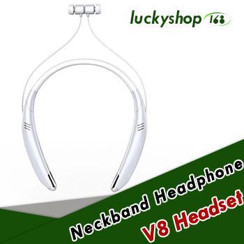 V8 Bluetooth Headset Wireless Stereo bluetooth earphone headphone Lound speaker Outside Music Player For iphone X Samsung LG Smartphone 100X