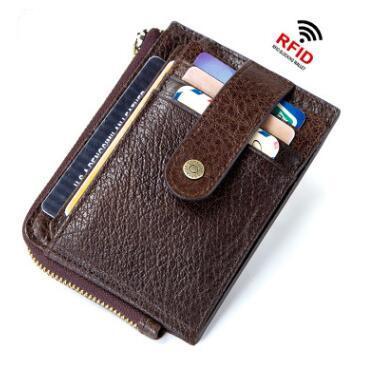Slim Genuine Leather Men Wallet Credit Cards holder Male zipper Coin Purse Business Card Holder Case Mini Safe Wallet
