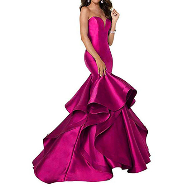Sexy Sweetheart Long Prom Dresses Mermaid Tired Satin Train Formal Evening Dresses Party Gowns for Women 2019