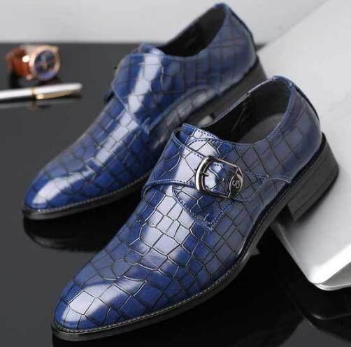 Chaussures formelles pour hommes, chaussures de mariage, boucle latérale, chaussures de grande taille, chaussures de ville, chaussures habillées pour hommes en relief avec dentelle G1.63