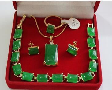 Free Shipping wholesale beautiful 18KGP green Natural Stone,ring(#7.8.9), pendant & stud earring jewelry set