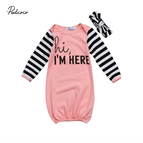 Newborn Infant Baby Girl Sleep Bag Long Sleeve Cotton Letter Print Striped Toddler Clothes