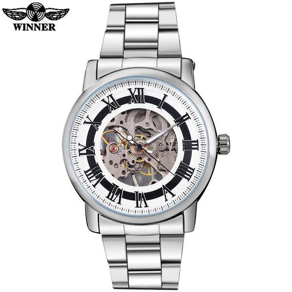 2016 WINNER china marca hombres negocio reloj mecánico de viento mano esqueleto dial caja de plata transparente banda de acero inoxidable de cristal