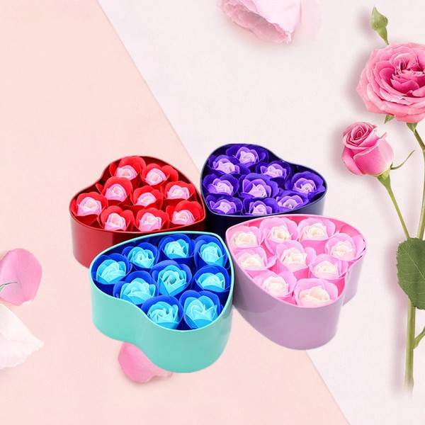 Portable Rose Soaps Flowers With Heart Shape Package Box Petals Simulation Soap Flower For Valentines Day Gift 4 51kg B