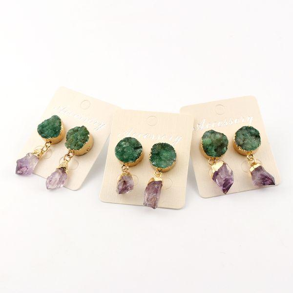 1Pair Natural Stone Druzy Drusy Ear Drop Dangle Earrings For Womens Jewelry Irregular Purple Crystal Asymmetrical Earing DE31