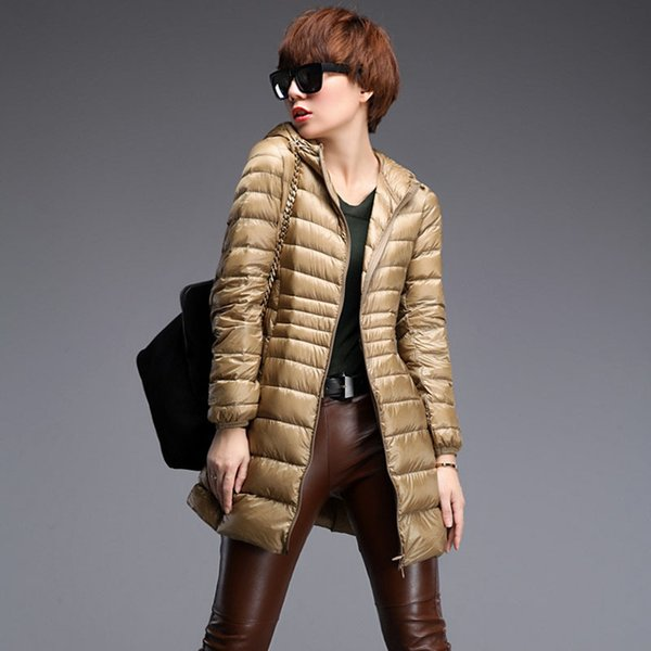 Women Designer Winter Coats Casual Solid Color Luxury Hooded Female Duck Down Parkas Thin Jackets Woman Outwear