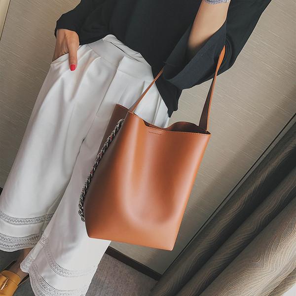 Brand Design Women Chain Bucket Shoulder Bag Large Capacity Composite Handbag PU Leather Women's Tote Shopping Bag Bolsa Feminin