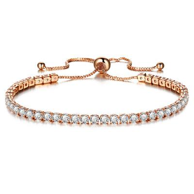 Fsahion Women Bling Bling Full Crystal Bracelets Zircon Glod Silver Multicolor Single Row Bracelets Jewelry Accessories