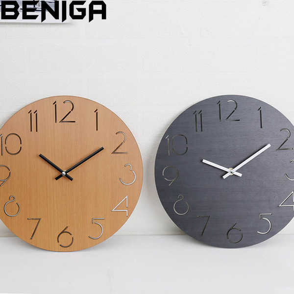 Modern Clocks For Living Room.Creative Wall Clock Living Room Simple Modern Clock Home Round Personality Bedroom Mute Garden Solid Wood For Home Decor Large Designer Wall Clocks