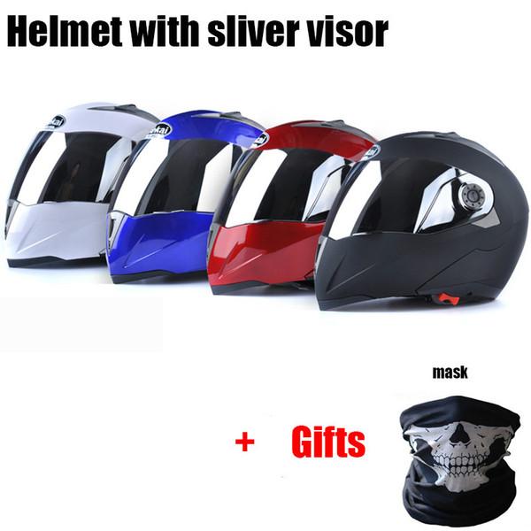 Jiekai Flip up Motorcycle Helmets Motor Mask Gifts Silver Lens Visor Men Women Motorbike Moto Bike Scooter Motocross Helmet