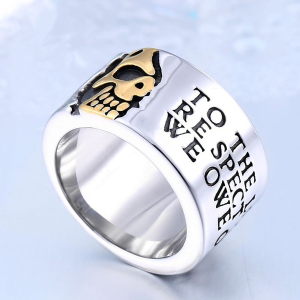 Best selling domineering pirate skull men's ring personalized hipster nightclub wide ring fashion jewelry tide male