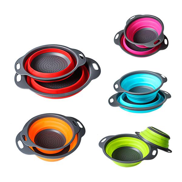 5 farbe küche collapsible lebensmittelqualität pp + gummi sieb sieb küche obst sieb falten filterkorb küche werkzeuge 2 teile / satz b