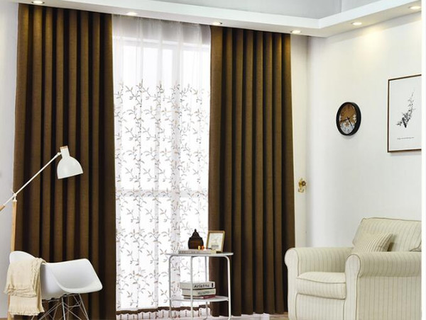 best selling B Factory direct modern minimalist living room bedroom curtain finished custom wholesale linen solid color curtain fabric
