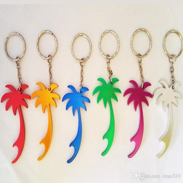 Mini Size convenient Aluminum Coconut Trees Bottle Opener With Keychain For Wedding Favors Best Gift IC566