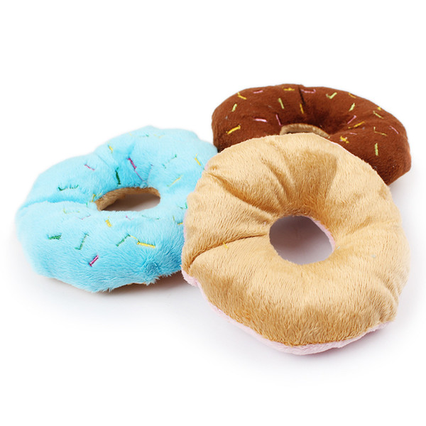 1 unids Funny Pet Dog Chew Throw Toys Cute Donuts Puppy Cat Squeaker Squeaky Plush Sound Perros Juguetes Squeaky Pets Products
