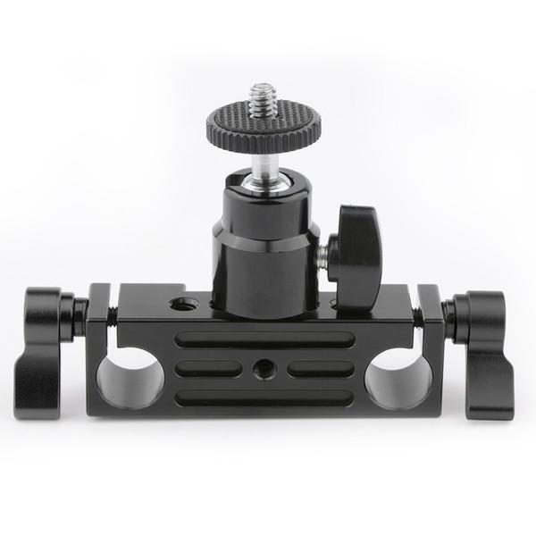CAMVATE Rod Clamp 15mm Railblock+ 1/4 Hot Shoe Mount Mini Ball Head Flash Bracket Holder