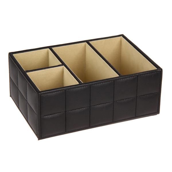 PU Leder Aufbewahrungsboxen Luxus Fernbedienung Handyhalter Home Office Auto Veranstalter Kosmetik Bilden Container Schwarz Weiß
