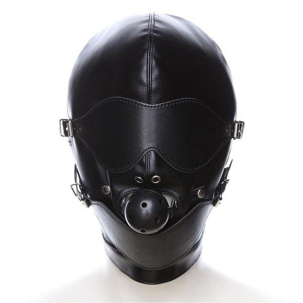 SM Maske Kölelik Restraint Hood Maske Seks Oyuncakları Başlık Ağız Topu Gag BDSM Ile Erotik Yetişkin Oyunları Için PU Deri Seks Hood