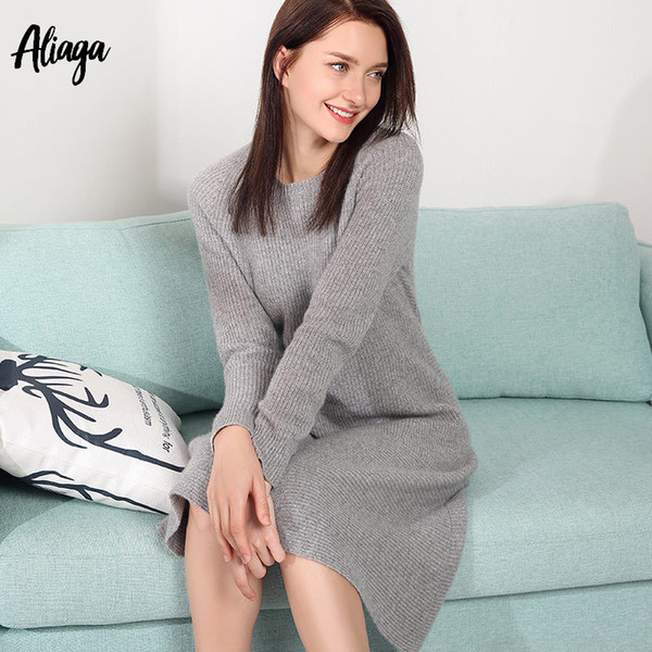 3e01a70cd68 Casual Knitted Sweater Dress For Women Winter Female Long Sleeve Dresses 100%  Pure Cashmere Dress Warm Thick Pullovers Jumpers