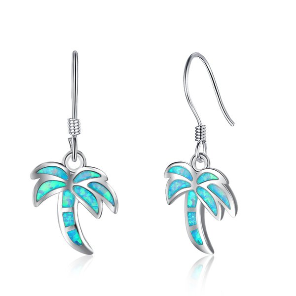 EA102077 Top quality Popular Fashion 925 Sterling Silver Coconut tree Earrings Fish Ear Hook with Simluated Blue Opal for girls