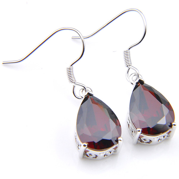 6 Pairs Luckyshine Superb waterdrop Red Crystal Zircon Gems 925 Sterling Silver Plated Drop Earrings Christmas gift Dangle Earrings Jewelry
