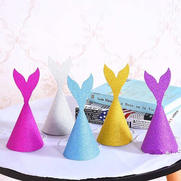 Glitter Mermaid Tail Hats Under The Sea Themed Birthday Wedding Party Horn Cap Crown For Adults Children Headwear Christmas Decor 1 2dy Y