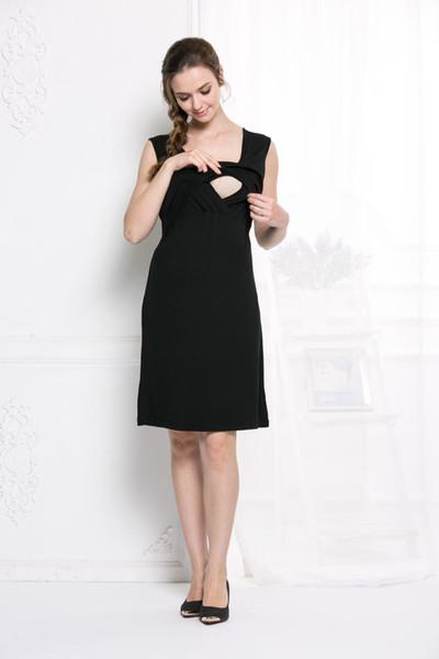 vestido de maternidad, estilo coreano, falda de mujer embarazada, vestido de enfermería de verano de moda mujer embarazada, falda sin mangas