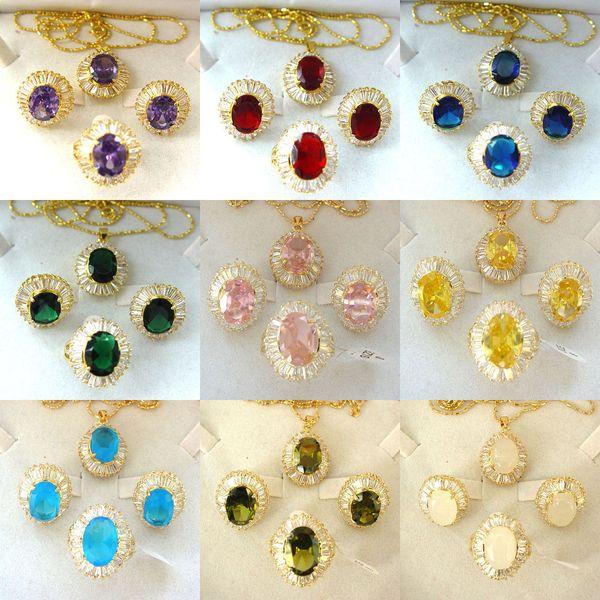 Cubic Zirkonia Multicolor Crystal Golden Anhänger Halskette Ohrringe Ring-Sätze