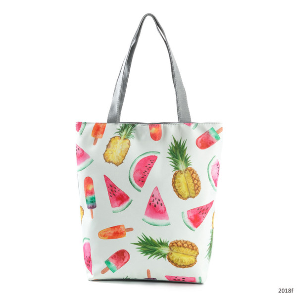 Pineapple Print Women Handbag Casual Wild Canvas Beach Bag Sailor Rope Design Large Capacity Shopping Bag Female