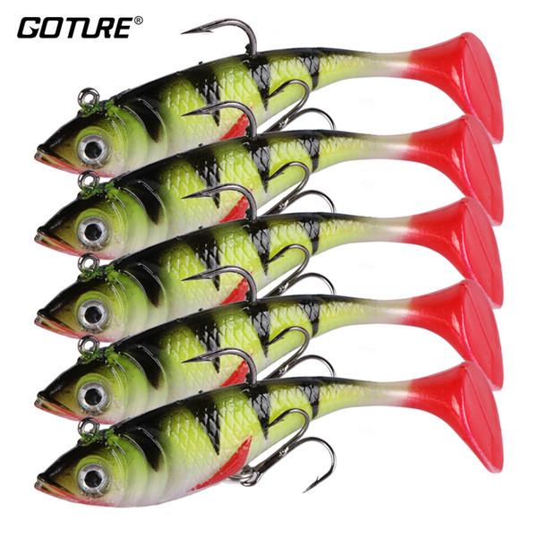 Goture Fishing Lure Silicone Bonic Soft Bait 10.7g 8.4cm Wobblers Artificial Bait Red Tail Lead Fish 5pcs/lot Y18100906