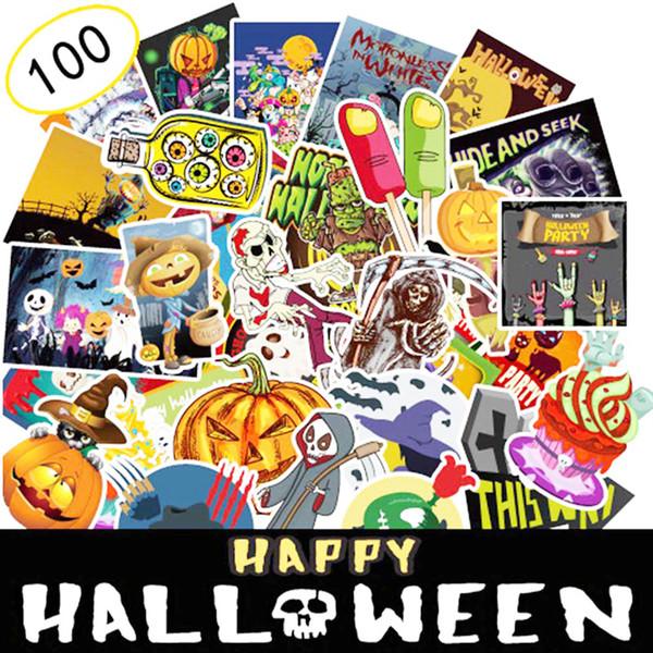 100 Pcs-Pack Feriado Adesivos de Halloween para Janela Laptop Capacete Do Carro Skate Bagagem Capacete Car Make Up Halloween Party Decal Decoração