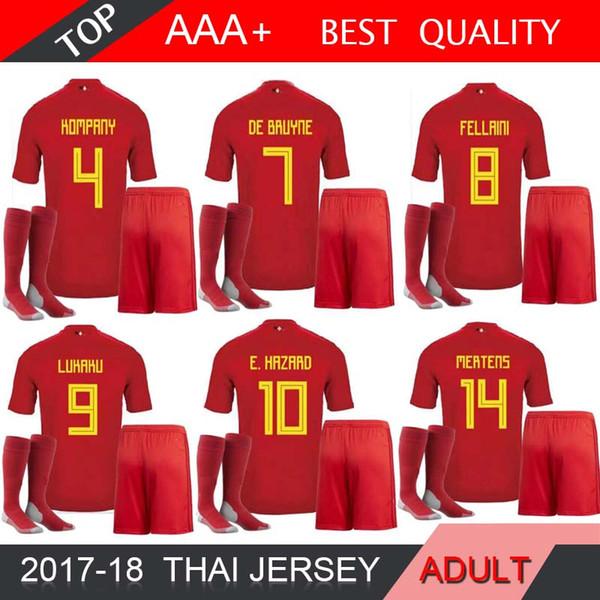 2018 World Cup Belgium Team Socks Soccer Jersey DE BRUYNE LUKAKU FELLAINI E.HAZARD KOMPANY DE BRUYNE Soccer Jersey Football shirt SHORT