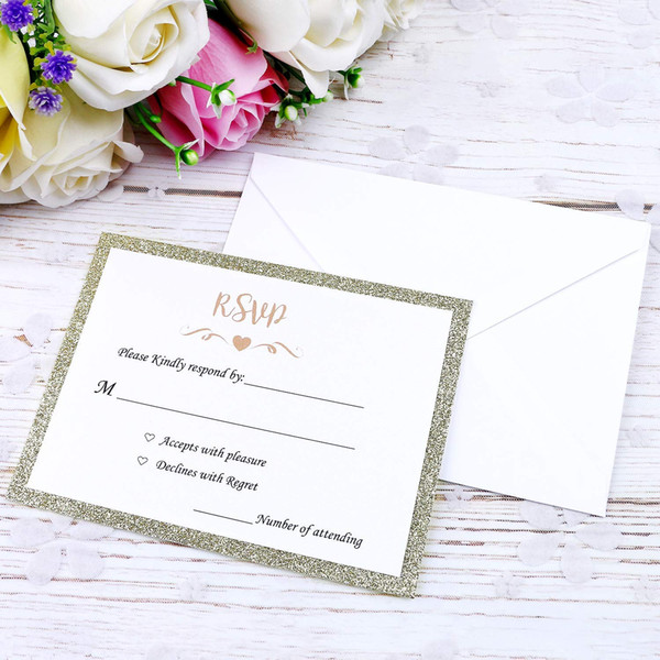 Elegant Rsvp Cards Champagne Gold Glitter Paper Substrate With Printing Words Ivory Envelopes Use With Invitations Cards Together Wedding Invitation