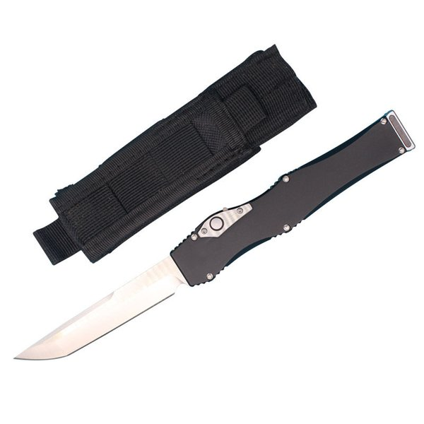 High End Auto Tactical Knife D2 Satin Tanto Blade T6061 Aluminum Handle EDC Pocket Knife Gift Knives With Nylon Bag