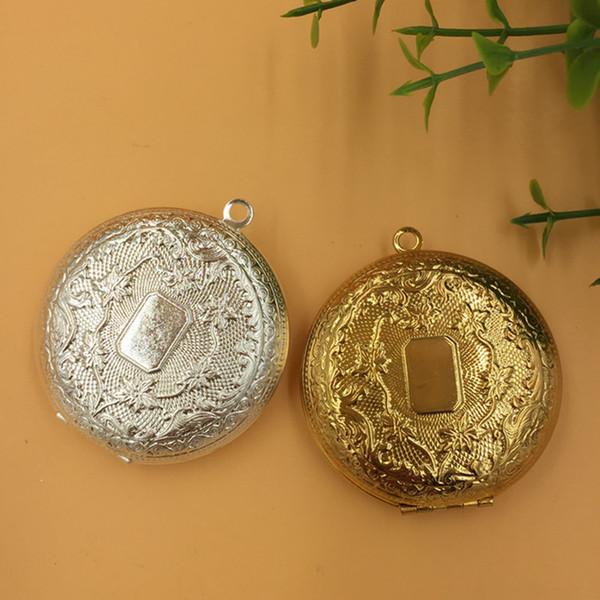 2pcs 50 * 13MM argent / bronze antique / or grand grand cuivre rond photo médaillon charmes bijoux de base, assortiment de pendentifs de cadre photo souhait boîte