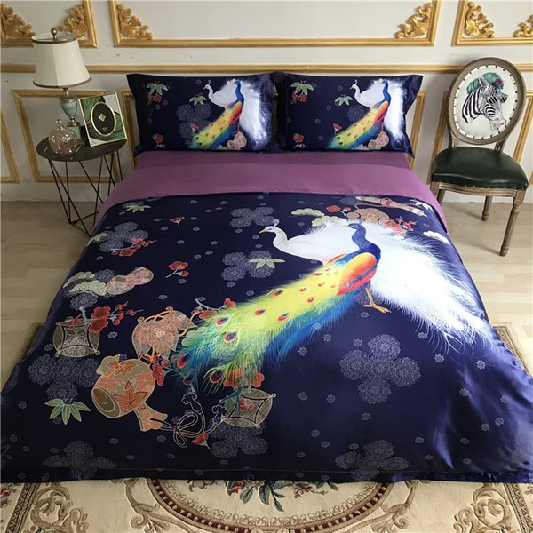 Oriental style Peacock/Bohemia Bedding set Queen King size Bed sheet set Blue Purple Green Cotton Jacquard Silk Duvet cover set