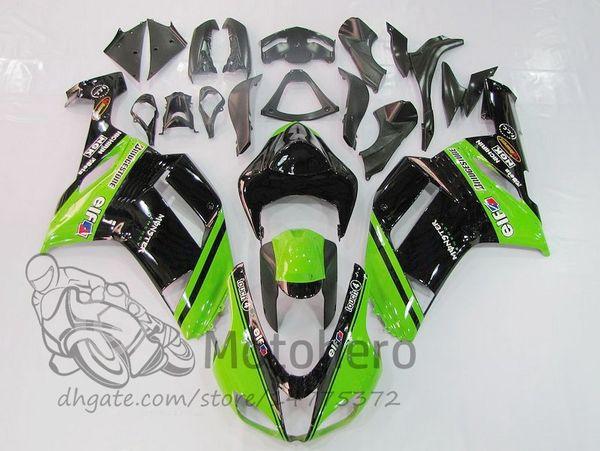 Carenados 3Gifts para KAWASAKI NINJA ZX6R 636 2007 2008 ZX 6R 07 08 kits de carenado verde negro