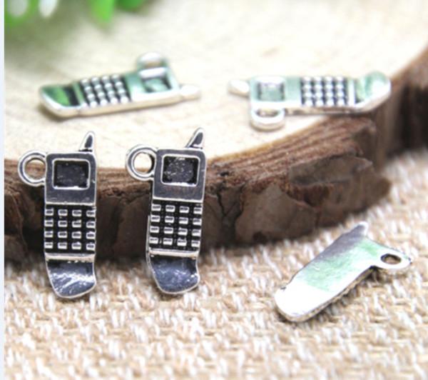 Pendenti di fascino del cellulare d'argento tibetano d'antiquariato del cellulare 10pcs / lot pendenti 17x9mm