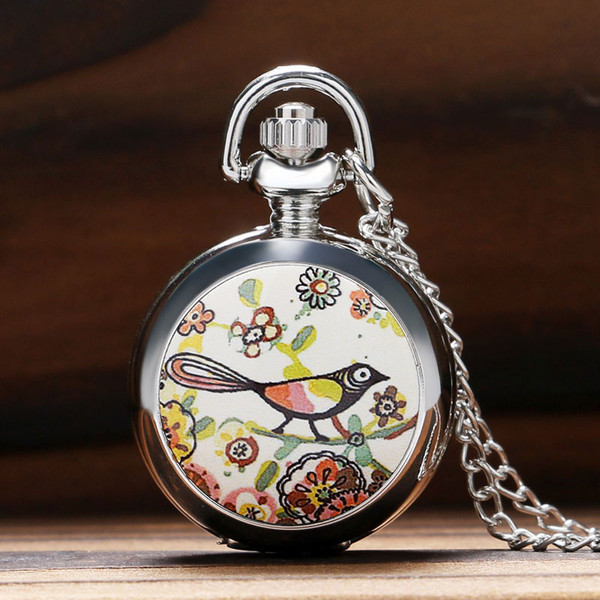 Lucky Colorful Painting Drawing Cute Bird Small Size Quartz Pocket Watch Womens Lady Girl Beautiful Necklace Pendant Chian Gifts