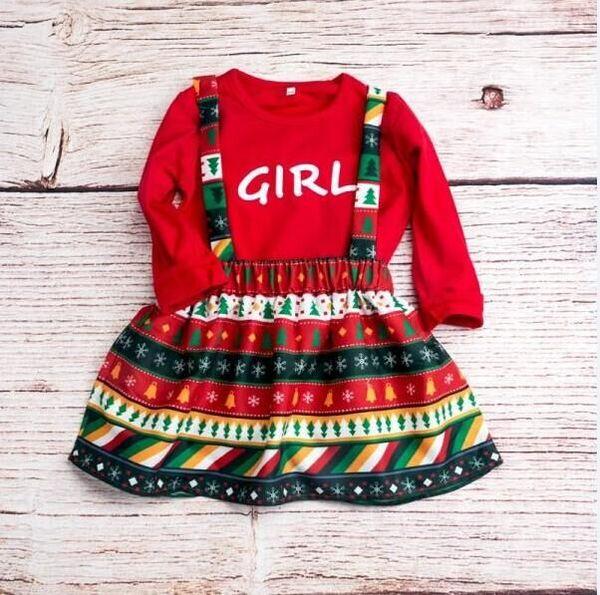 2018 nuevas muchachas del bebé de Navidad Top camisas largas + campanas de copo de nieve falda trajes vestido de Navidad 2pcs Set para niña bebé GG406D (aibebe)