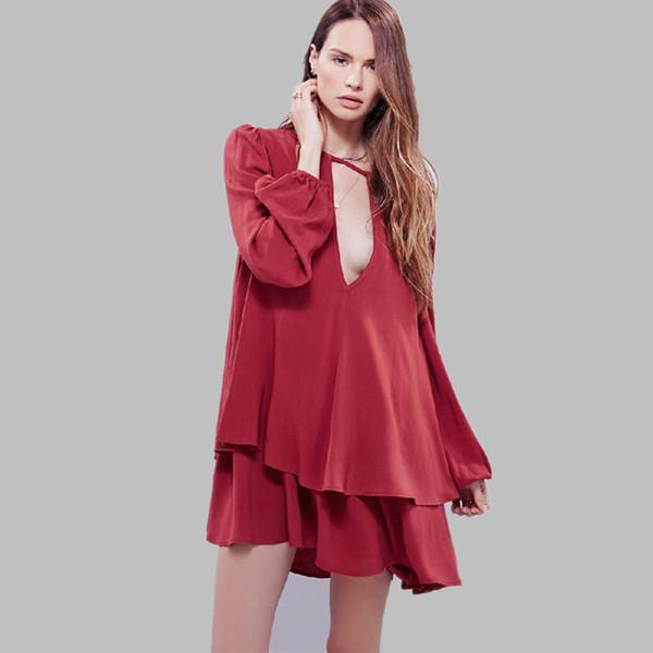 Large size women's sexy v-neck lantern sleeve dress red black and white dress.Loose dress ress