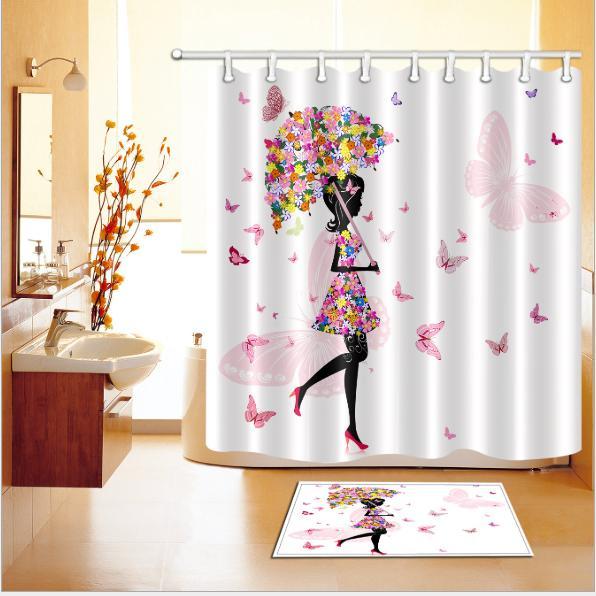 Fashion girl 3D pattern Print Custom Waterproof Bathroom Modern Shower Curtain Polyester Fabric Bathroom Curtain Door mat sets