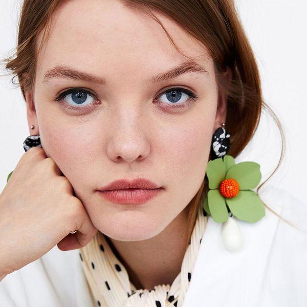 Resin Flower Earring Ceramic Handmade Exaggerating Trendy Women Multi-layer Spring Summer Bohemian Earring Beach Jewelry